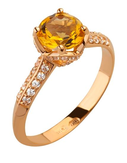 Золотое кольцо с цитрином и фианитами  15-000082227 9c99e0ac3217e