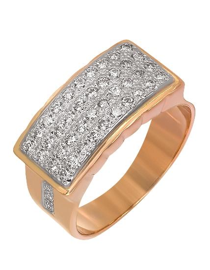 Золотой перстень 585 пробы с фианитами (01-16266494)