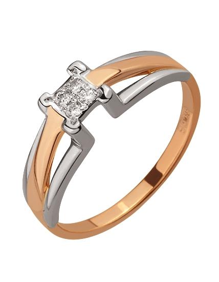Золота каблучка з діамантом 4-к-1738 фотографія 1