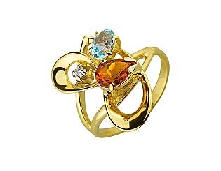 Золотое кольцо с бриллиантами и цитринами и топазами 01-17511027 фотография