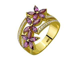 Золотое кольцо с фианитом и гранатом 3б_к-153 фотография