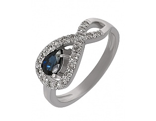 Золотое кольцо с сапфиром и бриллиантами 2к-161 фотография