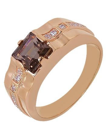 Золотой перстень 585 пробы с кварцем и фианитами (15-000087589)
