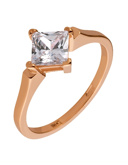 Золотое кольцо с цирконием куб. 1б_к-104 фотография 1