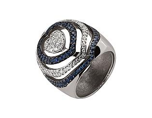 Золотое кольцо с сапфирами и бриллиантами 2б_к-079 фотография