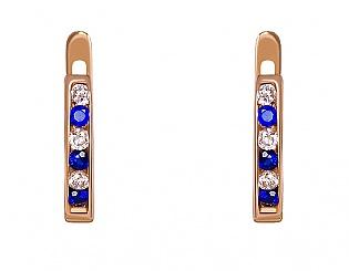 Золоті сережки з фіанітами 1-с-90 фотографія