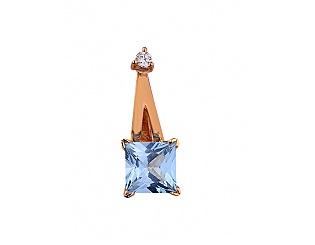 Золотой кулон с шпинелью синтетической и фианитами 1п-001 фотография