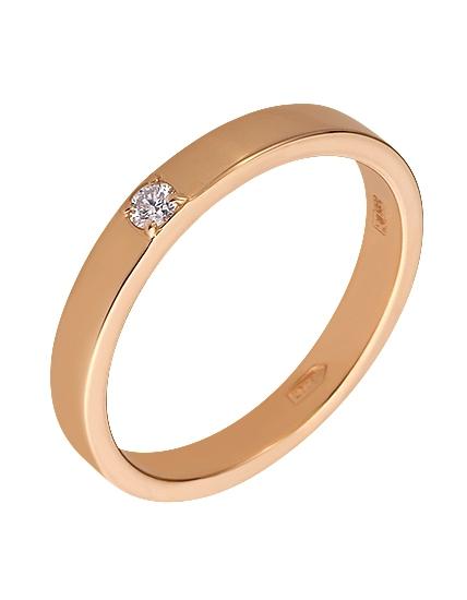 """Золотое обручальное кольцо 585 пробы с бриллиантом (15-000083940) """"Ювелирная карта"""""""