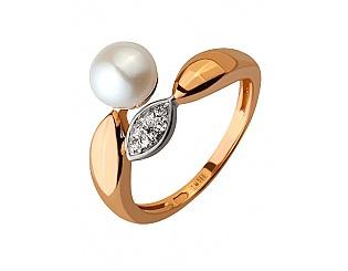 Золотое кольцо с фианитами и жемчугом 8б_к-142 фотография