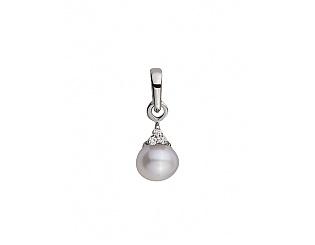 Золотой кулон с бриллиантами и жемчугом 2б_п-028 фотография