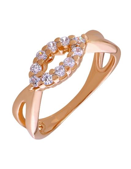 """Золотое кольцо 585 пробы с фианитами (01-15736830) """"Ювелирная карта"""""""