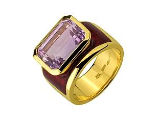 Золота каблучка з аметистами 01-17365730 фотографія