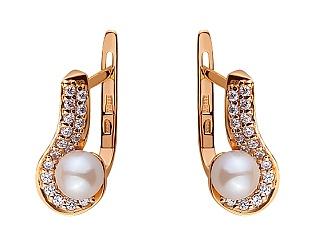 Золоті сережки з перлиною 01-17520130 фотографія