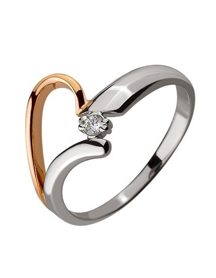 Золотое кольцо с бриллиантом 01-17578930 фотография 1