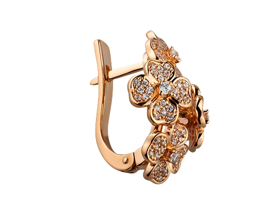 Золоті сережки з фіанітами 01-17078331 фотографія