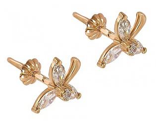 Золоті сережки з фіанітами 1-с-448 фотографія