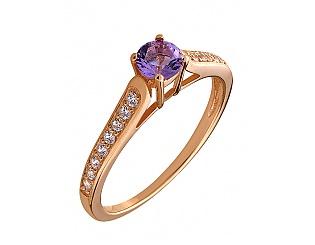 Золотое кольцо с аметистами и циркониями 1к-174 фотография