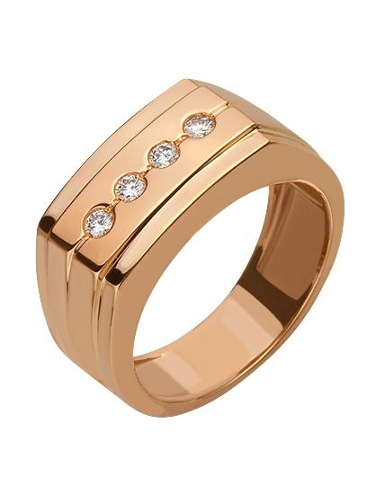 Золотой перстень 585 пробы с бриллиантами (15-000069831)