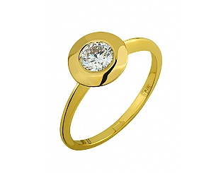 Золотое кольцо с цирконием куб. 3б_к-108 фотография
