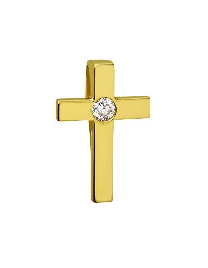 Золотой крестик 585 пробы  с бриллиантом (15-000082954)