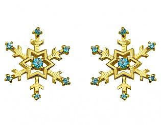 Золоті сережки з топазами 3б_с-105 фотографія