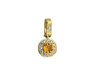 Золотий кулон з фіанітами і цитрином 3б_п-002 фотографія