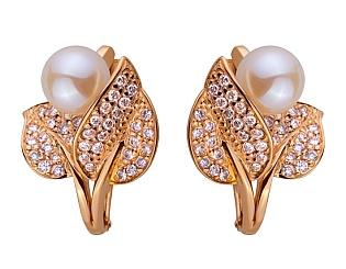 Золоті сережки з цирконієм куб. і перлиною 01-17520132 фотографія