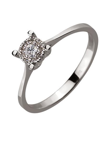 Золотое кольцо с бриллиантом 01-17593032 фотография 1