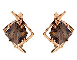 Золоті сережки з кварцом 01-17676132 фотографія