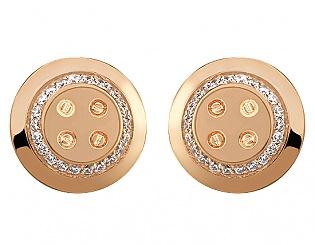 Золоті запонки з цирконіями 1б_з-001 фотографія