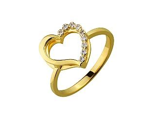 Золотое кольцо с фианитами 3-к-1215 фотография