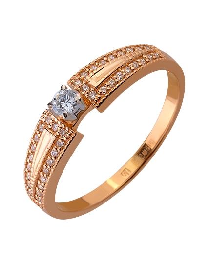 Золота каблучка з діамантами 01-17445833 фотографія