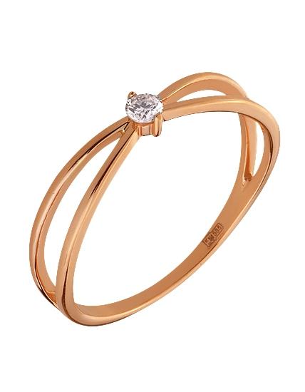 Золота каблучка з діамантом 1к-002 фотографія 1