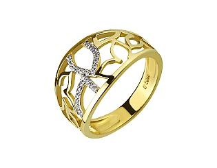 Золотое кольцо с циркониями 9б_к-137 фотография