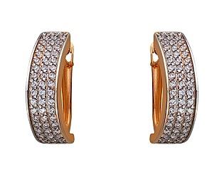 Золоті сережки з цирконієм куб. 01-17676134 фотографія