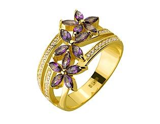 Золотое кольцо с фианитом и топазом 3б_к-153 фотография