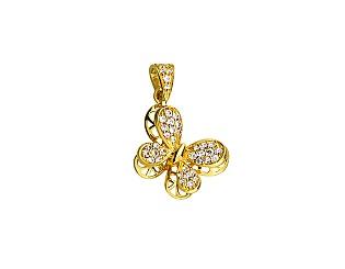 Золотий  кулон з фіанітами 01-16999835 фотографія