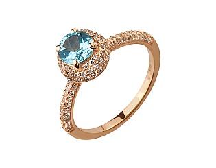 Золотое кольцо с циркониями и топазами 1б_к-158 фотография