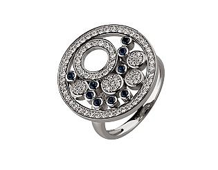 Золотое кольцо с сапфирами и бриллиантами 2б_к-118 фотография