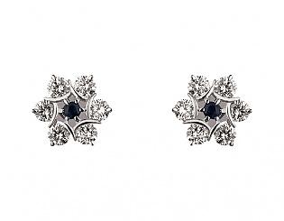 Золоті сережки з діамантом і сапфіром 2б_с-064 фотографія