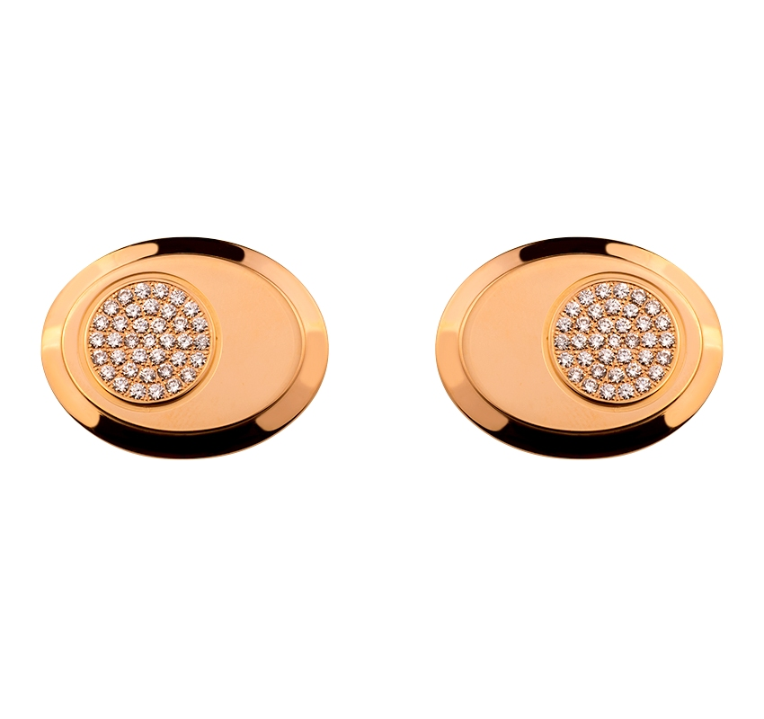Золота запонка з діамантами 01-17343536 фотографія