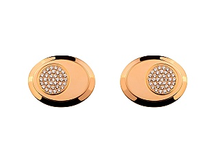 Золоті запонки з діамантами 01-17343536 фотографія