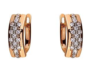 Золоті сережки з цирконієм куб. 01-17578936 фотографія
