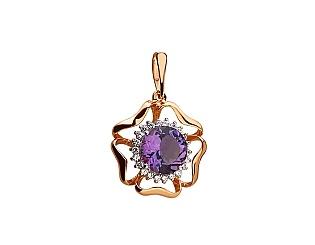 Золотий кулон з аметистом і цирконієм куб. 01-17620836 фотографія