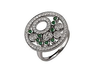 Золотое кольцо с бриллиантами и топазами 2б_к-118 фотография