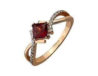 Золотое кольцо с фианитом и гранатом 8б_к-074 фотография