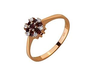Золота каблучка з діамантами і гранатами 01-17522537 фотографія