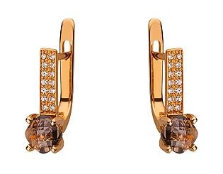 Золоті сережки з кварцом 01-17626037 фотографія