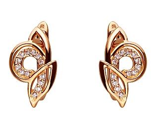 Золоті сережки з цирконієм куб. 01-17656437 фотографія