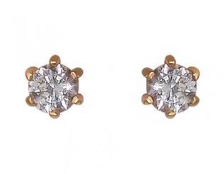 Золоті сережки з цирконієм куб. 1-с-433 фотографія